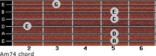Am7/4 for guitar on frets 5, 5, 2, 5, 5, 3
