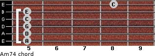 Am7/4 for guitar on frets 5, 5, 5, 5, 5, 8