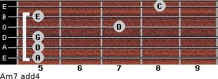 Am7(add4) for guitar on frets 5, 5, 5, 7, 5, 8