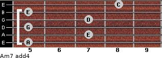 Am7(add4) for guitar on frets 5, 7, 5, 7, 5, 8