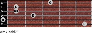 Am7 add(7) for guitar on frets 5, 0, 2, 1, 1, 3