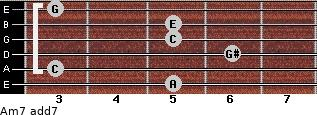 Am7 add(7) for guitar on frets 5, 3, 6, 5, 5, 3