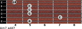 Am7 add(7) for guitar on frets 5, 7, 5, 5, 5, 4