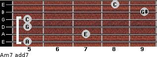 Am7 add(7) for guitar on frets 5, 7, 5, 5, 9, 8