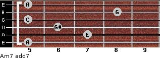 Am7 add(7) for guitar on frets 5, 7, 6, 5, 8, 5