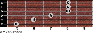 Am7(b5) for guitar on frets 5, 6, 7, 8, 8, 8