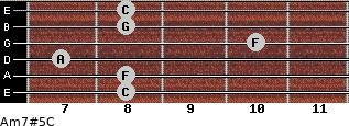 Am7#5/C for guitar on frets 8, 8, 7, 10, 8, 8