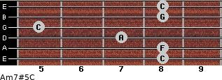 Am7#5/C for guitar on frets 8, 8, 7, 5, 8, 8