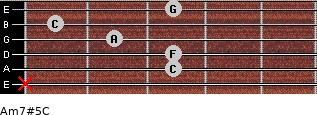 Am7#5/C for guitar on frets x, 3, 3, 2, 1, 3