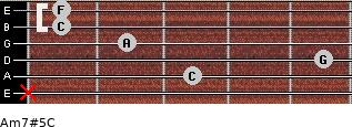 Am7#5/C for guitar on frets x, 3, 5, 2, 1, 1
