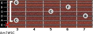 Am7#5/C for guitar on frets x, 3, 7, 5, 6, 3