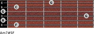 Am7#5/F for guitar on frets 1, 0, 5, 0, 1, 3