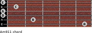 Am9/11 for guitar on frets 5, 2, 0, 0, 1, 0