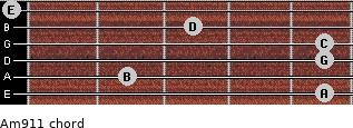 Am9/11 for guitar on frets 5, 2, 5, 5, 3, 0