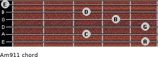 Am9/11 for guitar on frets 5, 3, 5, 4, 3, 0