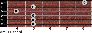 Am9/11 for guitar on frets 5, 5, 5, 4, 5, 8