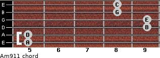 Am9/11 for guitar on frets 5, 5, 9, 9, 8, 8