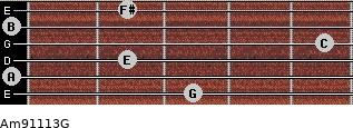 Am9/11/13/G for guitar on frets 3, 0, 2, 5, 0, 2