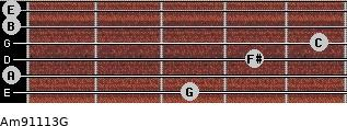 Am9/11/13/G for guitar on frets 3, 0, 4, 5, 0, 0