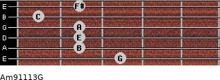 Am9/11/13/G for guitar on frets 3, 2, 2, 2, 1, 2