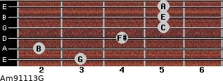 Am9/11/13/G for guitar on frets 3, 2, 4, 5, 5, 5