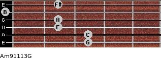Am9/11/13/G for guitar on frets 3, 3, 2, 2, 0, 2
