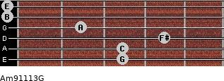 Am9/11/13/G for guitar on frets 3, 3, 4, 2, 0, 0