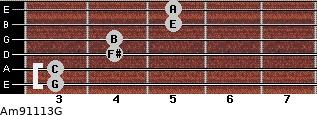 Am9/11/13/G for guitar on frets 3, 3, 4, 4, 5, 5