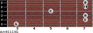 Am9/11/13/G for guitar on frets 3, 7, 7, 5, 7, 7