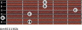Am9/11/13/Gb for guitar on frets 2, 0, 2, 5, 3, 3