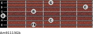 Am9/11/13/Gb for guitar on frets 2, 3, 0, 2, 5, 3