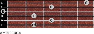 Am9/11/13/Gb for guitar on frets 2, 3, 2, 0, 3, 5