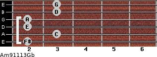 Am9/11/13/Gb for guitar on frets 2, 3, 2, 2, 3, 3