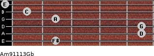 Am9/11/13/Gb for guitar on frets 2, 5, 5, 2, 1, 0