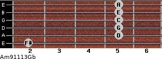 Am9/11/13/Gb for guitar on frets 2, 5, 5, 5, 5, 5
