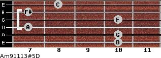 Am9/11/13#5/D for guitar on frets 10, 10, 7, 10, 7, 8