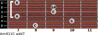 Am9/11/C add(7) guitar chord