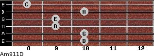 Am9/11/D for guitar on frets 10, 10, 9, 9, 10, 8