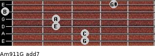 Am9/11/G add(7) guitar chord