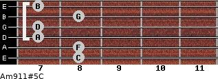 Am9/11#5/C for guitar on frets 8, 8, 7, 7, 8, 7
