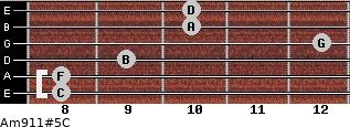Am9/11#5/C for guitar on frets 8, 8, 9, 12, 10, 10