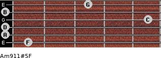 Am9/11#5/F for guitar on frets 1, 0, 0, 5, 0, 3