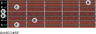 Am9/11#5/F for guitar on frets 1, 2, 0, 0, 1, 5