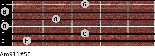 Am9/11#5/F for guitar on frets 1, 3, 0, 2, 0, 3