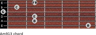 Am9/13 for guitar on frets 5, 2, 2, 0, 1, 2
