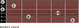 Am9/13 for guitar on frets 5, 2, 4, 0, 1, 0