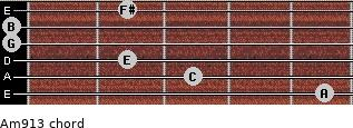 Am9/13 for guitar on frets 5, 3, 2, 0, 0, 2