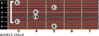 Am9/13 for guitar on frets 5, 3, 4, 4, 5, 3