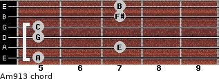 Am9/13 for guitar on frets 5, 7, 5, 5, 7, 7
