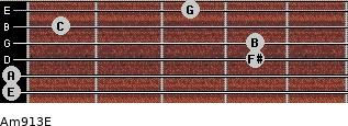 Am9/13/E for guitar on frets 0, 0, 4, 4, 1, 3